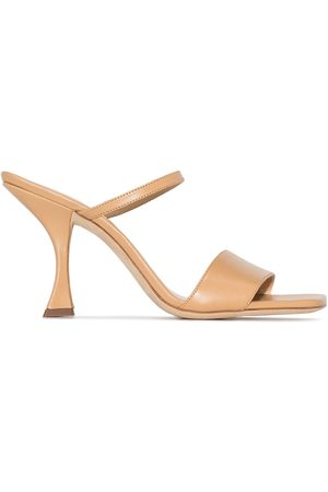 By Far Neutral Nayla 85 leather sandals
