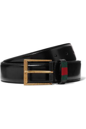 GUCCI 3.5cm Webbing-Trimmed Polished-Leather Belt
