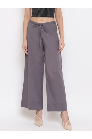 Janasya Women Grey Solid Wide Leg Palazzos