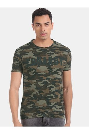 ED HARDY Men Short Sleeve - Men Olive Green & Brown Camouflage Printed Round Neck T-shirt