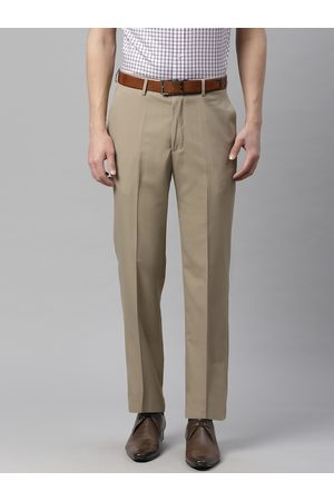 Marks & Spencer Men Beige Regular Fit Solid Formal Trousers