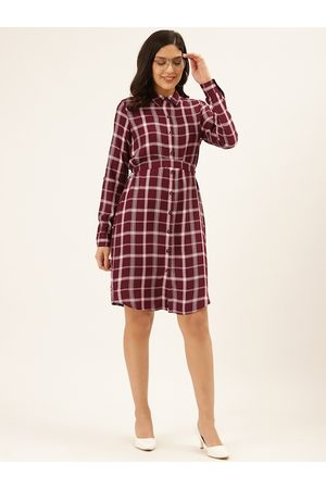 Style Quotient Women Burgundy & Off-White Checked Shirt Dress