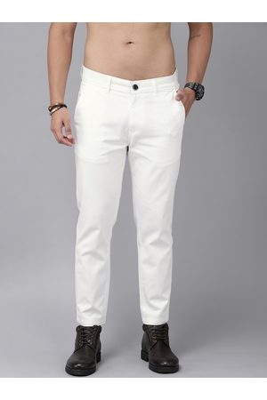 Roadster Men White Regular Fit Solid Chinos