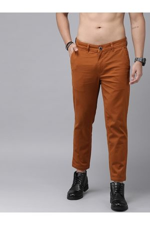 Roadster Men Rust Orange Regular Fit Solid Chinos
