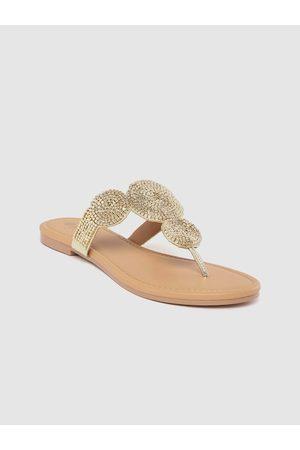 Carlton London Women Gold-Toned Embellished Open Toe Flats