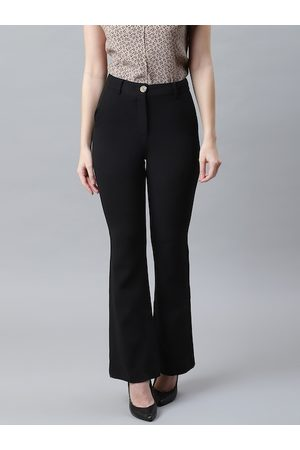 Marks & Spencer Women Black Slim Fit Solid Bootcut Trousers
