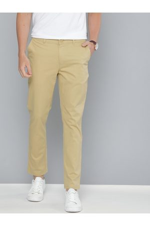 Mast & Harbour Men Beige Regular Fit Solid Chinos