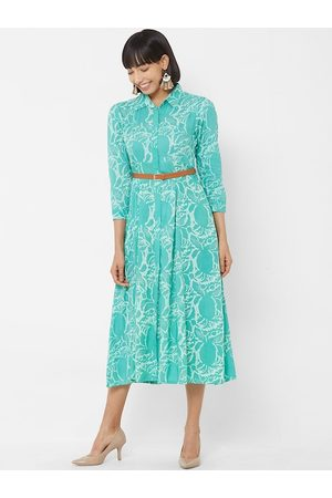 Vedic Women Sea Green & White Printed Fit and Flare Dress