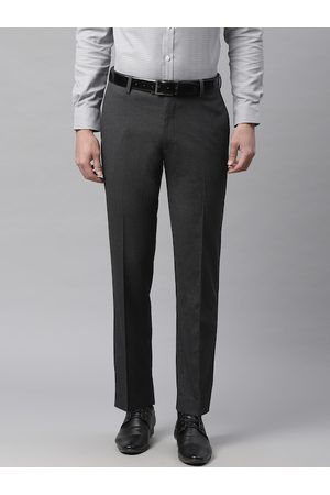 Marks & Spencer Men Charcoal Grey Tailored Fit Solid Formal Trousers
