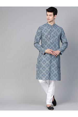 See Designs Men Navy Blue & White Handloom Handblock Print Sustainable Straight Kurta