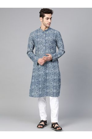See Designs Men Blue & White Hand Block Print Sustainable Straight Kurta