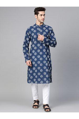 See Designs Men Navy & White Hand Block Printed Sustainable Handloom Kurta with Pyjamas