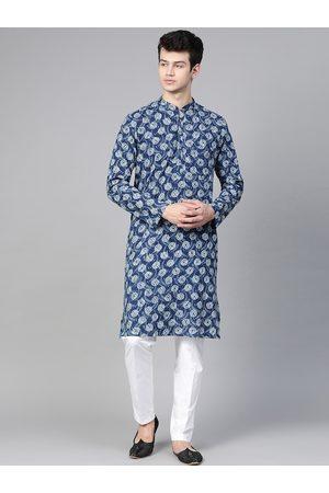 See Designs Men Navy Blue & White Hand Block Print Sustainable Handloom Kurta with Pyjamas