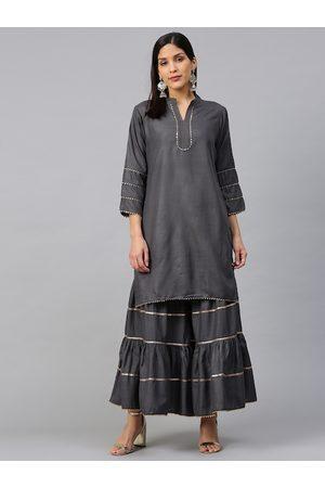 Bhama Couture Women Charcoal Grey Gotta Patti Kurta with Sharara