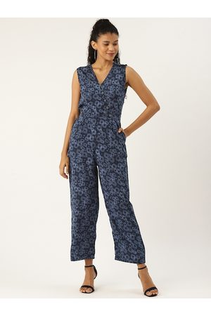 Cottinfab Women Navy Blue Geometric Printed Basic Jumpsuit