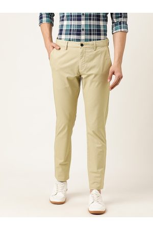 Flying Machine Men Beige Slim Fit Solid Chinos
