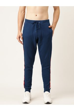 Flying Machine Men Blue Straight Fit Solid Joggers with Side Stripes