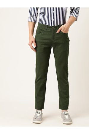 Flying Machine Men Olive Green Slim Fit Solid Chinos