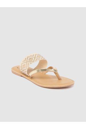 Carlton London Women Gold-Toned & Beige Embellished One Toe Flats