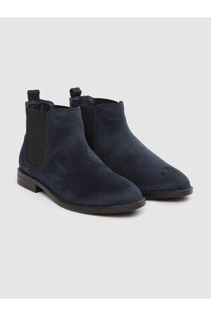 Carlton London Women Navy Blue Solid Mid-Top Flat Boots