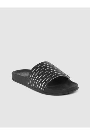 Carlton London Women Black & Silver-Toned Laser Cut Open Toe Flats