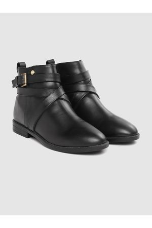 Carlton London Women Black Solid Mid-Top Flat Boots with Buckle Detail