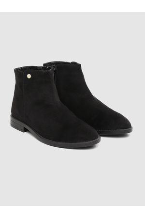 Carlton London Women Black Solid Mid-Top Flat Boots