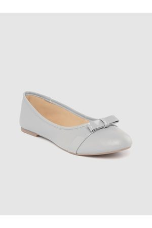 Carlton London Women Grey Solid Ballerinas with Bow Detail