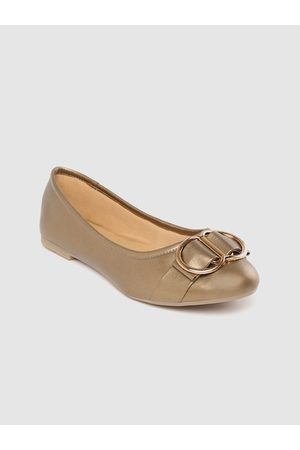 Carlton London Women Bronze-Toned Solid Ballerinas with Buckle Detail