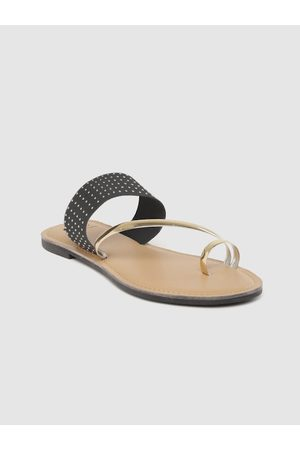 Carlton London Women Black & Gold-Toned Embellished One Toe Flats