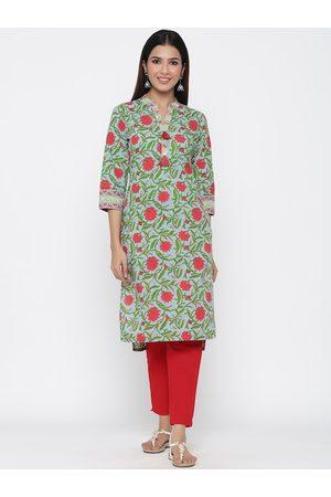 Jaipur Women Blue & Red Printed Straight Kurta
