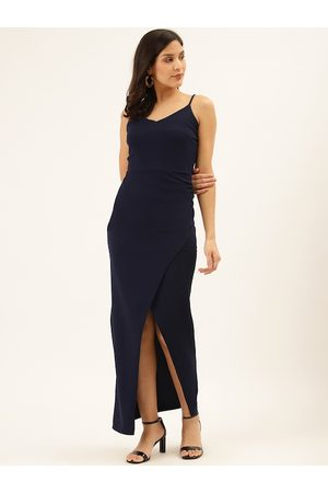 Trend Arrest Women Navy Blue Solid Maxi Bodycon Dress
