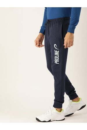 Proline Men Navy Blue Printed Slim Fit Joggers