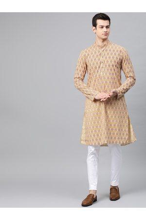 See Designs Men Beige & Maroon Printed Kurta with Pyjamas
