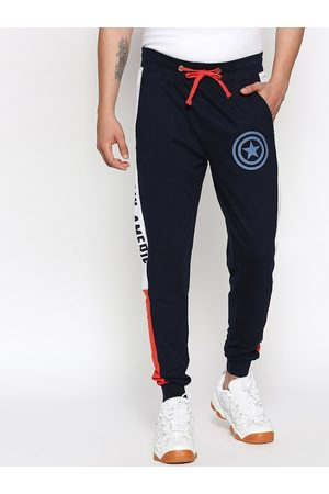 The Souled Store Men Navy Blue Superhero Slim Fit Printed Joggers