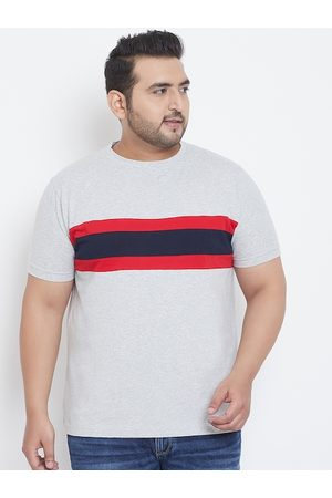 Bigbanana Men Plus Size Grey & Navy Blue Colourblocked Round Neck T-shirt