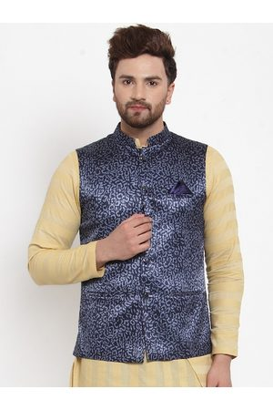 MAXENCE Men Navy Blue Floral Printed Jacquord Nehru Jacket with Pocket Square