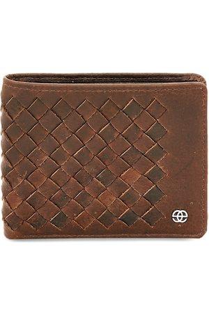 Eske Men Brown Solid Genuine Leather Two Fold Wallet