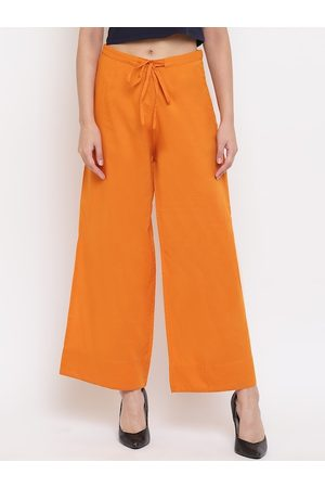 Janasya Women Orange Solid Straight Palazzos