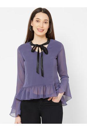 MISH Women Purple Solid Peplum Top