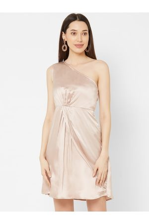 MISH Women Champagne Solid Fit and Flare Dress