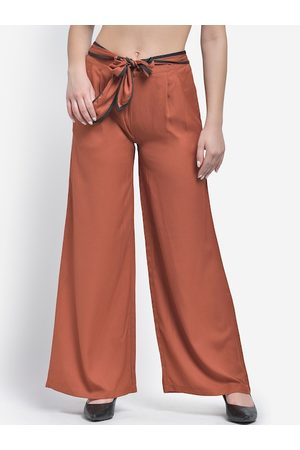 Texco Women Rust Brown Solid Wide Leg Palazzos