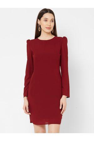 MISH Women Maroon Solid Bodycon Dress