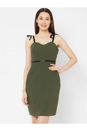 MISH Women Green Solid Sheath Dress