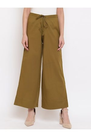 Janasya Women Olive Green Solid Straight Palazzos