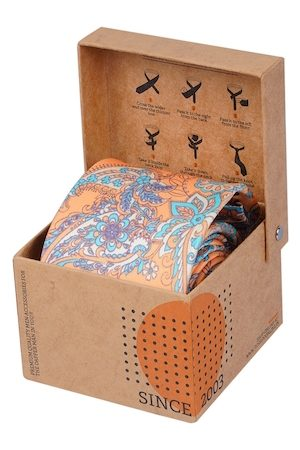 Tossido Men Orange & Blue Printed Broad Tie