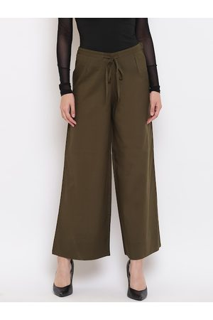Janasya Women Olive Green Solid Flared-Fit Palazzos