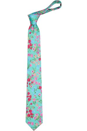 Tossido Men Turquoise Blue & Pink Printed Broad Tie