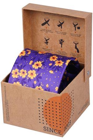 Tossido Men Purple Printed Broad Tie
