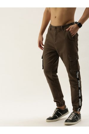 Moda Rapido Men Brown Slim Fit Checked Joggers with Side Taping Detail